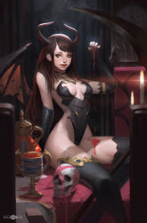 1girl banjiu_e'vik black_legwear black_nails breasts breasts_apart brown_hair candle chair clock demon_girl demon_horns demon_wings detached_sleeves fangs fingernails fire flame goblet grandfather_clock horns long_fingernails nail_polish original pink_ribbon realistic ribbon roman_numerals scythe sitting skull solo succubus table thighhighs wings yellow_eyes