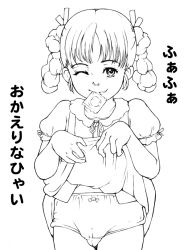 cameltoe condom flat_chest loli monochrome panties smile takei_shikin wink