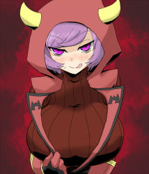 1girl :q blush breasts bust fake_horns flipped_hair gloves hood horned_headwear huge_breasts kagari_(pokemon) kagari_(pokemon)_(remake) licking_lips looking_at_viewer naughty_face oro_(zetsubou_girl) pokemon pokemon_(game) pokemon_oras purple_eyes purple_hair red_background ribbed_sweater short_hair solo sweater team_magma tongue tongue_out uniform