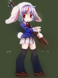 1girl animal_ears blazer bunny_ears chabi_(amedama) chibi gun necktie purple_hair red_eyes reisen rifle short_hair sketch skirt solo touhou weapon