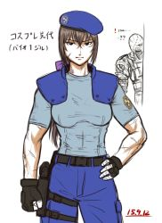 1girl beret bow breasts brown_hair clenched_hand cosplay fingerless_gloves gloves hair_between_eyes hair_bow hand_on_hip hat holster jill_valentine jill_valentine_(cosplay) long_hair low_ponytail m.u.g.e.n nemesis original police police_uniform policewoman resident_evil scar sendai_hakurei_no_miko shoulder_pads solo_focus taikyokuturugi thigh_holster touhou uniform zombie