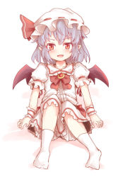 1girl bat_wings blush bow brooch hat hat_bow jewelry lavender_hair mob_cap open_mouth pointy_ears red_eyes remilia_scarlet sash shize_(coletti) sitting solo touhou wings
