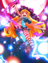 1girl american_flag_dress american_flag_legwear arm_up big_hair big_hat blonde_hair breasts clownpiece commentary_request danmaku full_body hat highres jester_cap long_hair looking_at_viewer looking_down moon nama_shirasu open_mouth pantyhose red_eyes red_moon revision short_sleeves small_breasts smile solo space spell_card thighs toes torch touhou very_long_hair wings