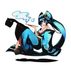 1girl bare_shoulders blue_eyes blue_hair blue_nails breasts cleavage collarbone divine_gate full_body hair_ornament holding japanese_clothes kimono large_breasts long_hair looking_at_viewer nail_polish official_art solo transparent_background ucmm very_long_hair yukata
