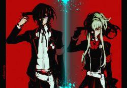 1boy 1girl black_hair c.c. code_geass cosplay creayus female_protagonist_(persona_3) female_protagonist_(persona_3)_(cosplay) green_hair gun hair_over_one_eye handgun lelouch_lamperouge persona persona_3 persona_3_portable pink_eyes pistol ribbon weapon yellow_eyes yuuki_makoto yuuki_makoto_(cosplay)
