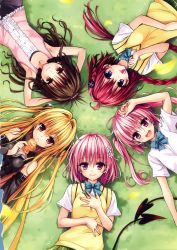5girls :d absurdres armpits arms_behind_head blonde_hair blue_eyes blush braid brown_eyes brown_hair candy circle_formation demon_tail detached_sleeves eating fang food from_above grass highres konjiki_no_yami kurosaki_mea lollipop long_hair looking_at_viewer looking_up lying momo_velia_deviluke multiple_girls nana_asta_deviluke official_art on_back open_mouth pink_eyes pink_hair ponytail red_eyes scan school_uniform short_hair skirt smile sweater_vest tail taiyaki to_love-ru to_love-ru_darkness twintails two_side_up very_long_hair wagashi yabuki_kentarou yuuki_mikan