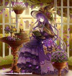 1girl belt book bow bowtie braid company_name dress flower food fruit full_body gyakushuu_no_fantasica hat leaf long_hair official_art petals purple_eyes purple_hair reki_(pixiv) sitting solo squirrel tree witch_hat