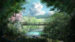 artist_name blurry bridge cherry_blossoms cloud commentary highres hill horizon nature niko_p no_humans original river scenery sketch sky texture tree