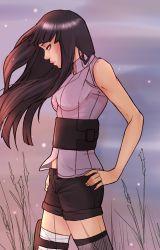 1girl bare_shoulders hime_cut hyuuga_hinata naruto naruto:_the_last short_shorts sleeveless szajnie
