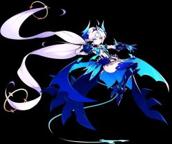 1girl bat_wings black_background blue_bow blue_eyes blue_legwear bow brooch crown detached_sleeves elsword expressionless floating greaves horns hwansang jewelry leotard long_hair luciela_r._sourcream noblesse_(elsword) pointy_ears simple_background solo tail thighhighs twintails white_hair wings