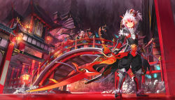 1boy 1girl alternate_color alternate_costume alternate_hairstyle architecture arm_at_side armor armored_boots bangs black_gloves black_legwear black_pants boots bridge brother_and_sister buddha closed_mouth creature cross-laced_clothes diamond_yaksha east_asian_architecture elesis_(elsword) elsword elsword_(character) fur_trim gate gloves hair_between_eyes hair_ornament highres holding holding_sword holding_weapon horns huge_weapon lantern legs_apart legs_crossed light_particles long_hair multicolored_hair nian pagoda pants pauldrons ponytail railing red_eyes red_hair riding ripples river rock rope sash scorpion5050 siblings sidelocks skull smile spikes standing statue suggestive_fluid sword thighhighs transparent two-tone_hair weapon