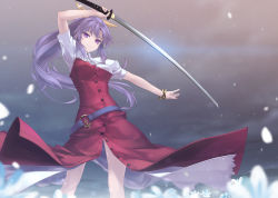 1girl bow breasts hair_bow holding holding_sword holding_weapon katana long_hair medium_breasts petals ponytail purple_eyes purple_hair rokuwata_tomoe solo sword touhou very_long_hair watatsuki_no_yorihime weapon