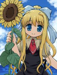 1girl air blonde_hair blue_eyes cloud dress flower hair_ribbon kamio_misuzu long_hair looking_at_viewer mizuno_mumomo ribbon sky smile solo sunflower