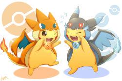 ^_^ brown_eyes charizard charizard_(cosplay) cosplay dated eyes_closed happy ivan_(ffxazq) mega_charizard_x mega_charizard_y no_humans one_eye_closed open_mouth pikachu pokeball_symbol pokemon pokemon_(game) pokemon_xy signature simple_background smile