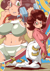 1girl ass big_hair breasts brown_hair buttons chawalit_adsawawalanon dumbbell glasses green_eyes green_shorts high_heels highres kneeling large_breasts long_sleeves midriff multiple_views open_mouth pink-framed_eyewear pokemon pokemon_(game) pokemon_sm short_hair shorts skirt sleeves_past_wrists sports_bra sweat sweater teeth turtleneck turtleneck_sweater underbust weightlifting white_legwear white_skirt wicke_(pokemon)