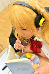 1girl asian blonde_hair bra breasts cleavage cosplay fat female headphones hoshima_mika huge_breasts large_breasts photo solo super_pochaco super_pochaco_(cosplay)