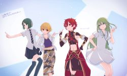 1girl 3boys alexander_(fate/grand_order) blonde_hair cargo_pants child_gilgamesh collared_dress crop_top dress enkidu_(fate/strange_fake) fate/strange_fake fate_(series) genderswap green_hair grey_eyes jacket long_hair messy_hair mitsu_(imoimou) multiple_boys navel necktie pants pleated_skirt poses red_eyes red_hair sensha_otoko short_hair short_sleeves skirt thighhighs trap waver_velvet white_dress