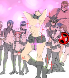 4girls 5boys abs adjusting_glasses armpit_holster belt black_gloves black_hair blindfold blue_hair boots breasts brown_hair censored chin_rest cleavage crossed_arms detached_sleeves eyebrows fabulous gamagoori_ira glasses gloves gun handgun hat head_back height_difference highlights holster hug hug_from_behind iida_(iroennpitu) inumuta_houka jakuzure_nonon jitome kill_la_kill kiryuuin_satsuki knee_boots long_hair mankanshoku_mako mask matoi_ryuuko mikisugi_aikurou multicolored_hair multiple_boys multiple_girls novelty_censor nudist_beach_uniform opaque_glasses pistol sanageyama_uzu scar shirtless short_hair small_breasts solo_focus soroi_mitsuzou sparkle sparkles thick_eyebrows thigh_boots thighhighs tray utility_belt weapon