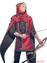 1boy archer bow_(weapon) byulrorqual cape cloak fate/stay_night fate_(series) hood solo weapon white_hair