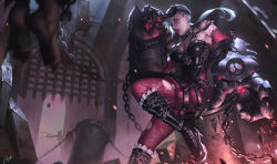2girls armor blue_hair boots braid chains earrings facial_tattoo gauntlets highres jewelry jinx_(league_of_legends) league_of_legends licking_lips long_hair looking_at_viewer multiple_girls nose_piercing piercing ponytail red_eyes regition tattoo vi_(league_of_legends)