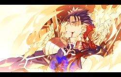 1boy blood blood_in_mouth blue_hair fate/stay_night fate_(series) fire kon_manatsu lancer letterboxed ponytail solo