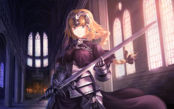 1girl armor armored_dress blonde_hair braid capelet church fate/apocrypha fate_(series) gauntlets headpiece long_hair nauimusuka purple_eyes ruler_(fate/apocrypha) single_braid solo sword weapon