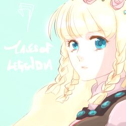 1girl blonde_hair blue_background blue_eyes braid breasts copyright_name dress flower lips long_hair rose shirley_fennes tales_of_(series) tales_of_legendia