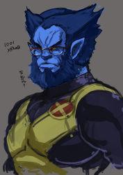 beard beast_(x-men) blue_skin bust eroquis facial_hair glasses over-rim_glasses pointy_ears semi-rimless_glasses short_hair solo x-men