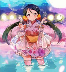 1girl black_hair blue_nails breasts cherry_blossoms in_water japanese_clothes kimono kneehighs long_hair looking_at_viewer nail_polish obi ofuda pinky_out purple_eyes sash scrunchie smile solo standing sunameri_oishii tokyo_7th_sisters twintails wristband yukata yukuhashi_ei