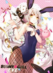 1girl :3 animal_ears bangs bare_shoulders black_bowtie bow bowtie breast_hold breasts bunny_ears bunny_girl bunny_tail bunnysuit character_name cleavage closed_mouth confetti dice_hair_ornament elsword eve_(elsword) facial_mark fishnet_pantyhose fishnets floral_background gem hair_cubes hair_ornament hair_ribbon lace_background leotard long_hair looking_at_viewer myoya pantyhose ponytail ribbon sleeveless solo sparkle string_of_flags striped striped_background tail text very_long_hair white_hair wrist_cuffs yellow_eyes yellow_ribbon