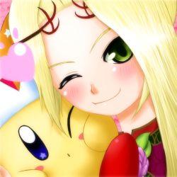 blonde_hair blush heart kid_icarus kirby nintendo oomoto_makiko seiyuu_connection tagme viridi