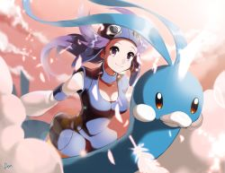 1girl altaria anpolly aviator_goggles aviator_hat aviator_helmet bird breasts choker cleavage cloud collar feather female flying goggles goggles_on_head gym_leader helmet large_breasts light long_hair nagi_(pokemon) outstretched_arm outstretched_arms pokemon pokemon_(creature) pokemon_(game) purple_eyes purple_hair riding sitting sky smile source_request sunlight sunrise sunset