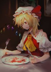 1girl ascot blonde_hair blood blood_on_face crying crying_with_eyes_open crystal flandre_scarlet fork frills hat hat_ribbon highres indoors isshin_(kaxz) knife mob_cap picture_(object) puffy_short_sleeves puffy_sleeves red_eyes red_ribbon ribbon short_hair short_sleeves side_ponytail solo tears touhou wings