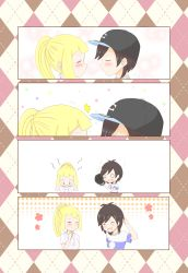 1boy 1girl 4koma black_hair blonde_hair chibi couple hat laughing lillie_(pokemon) male_protagonist_(pokemon_sm) o_o plain_background pokemon pokemon_(game) pokemon_sm ponytail striped_shirt tagme
