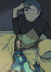 animal bed blue_hair densetsu_kyojin_ideon eyes_closed frog hatari_naburu pillow sarmatamra