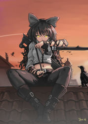 1girl animal belt bird black_boots black_hair blake_belladonna boots bow breasts building cleavage crow dusk hair_bow holding jonathan_h long_hair looking_at_viewer navel pants rooftop rwby signature sitting sky solo star_(sky) starry_sky sword weapon yellow_eyes