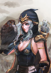 1girl ashe_(league_of_legends) bare_shoulders bird blue_eyes breasts cape cleavage hood league_of_legends lips long_hair looking_at_viewer quiver silver_hair solo white_hair
