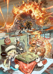 6+girls akebono_(kantai_collection) anger_vein battle black_hair board_game book brown_hair bunny explosion eyepatch fire flower glasses hair_flower hair_ornament hairclip hat highres i-8_(kantai_collection) ikazuchi_(kantai_collection) kantai_collection konno_takashi_(frontier_pub) kotetsu long_hair low_twintails machinery mahjong multiple_girls oboro_(kantai_collection) one_eye_closed pink_hair ponytail purple_hair red-framed_glasses sailor_hat sazanami_(kantai_collection) school_swimsuit short_hair side_ponytail swimsuit tenryuu_(kantai_collection) twintails ushio_(kantai_collection)