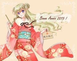 1girl 2015 blonde_hair code_geass code_geass:_boukoku_no_akito double_bun japanese_clothes kimono leila_(code_geass) long_hair new_year paintbrush purple_eyes solo yukata