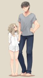 1boy 1girl barefoot blue_eyes blush brown_hair chibikko_(morihito) denim eyebrows height_difference highres jeans long_hair morihito original pants shirt shorts smile solo thick_eyebrows thighs