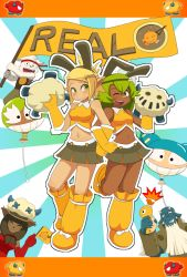 2boys 3girls ;) alternate_costume amalia_sheran_sharm animal_ears bandaid bandaid_on_nose bird blue_skin breasts brown_eyes bunny_ears cat_ears character_request cheerleader cra dark_skin duck ecaflip elbow_gloves evangelyne fake_animal_ears fen_(gunpura) gloves green_hair gunpura hair_ornament hairclip kabrok locked_arms long_hair midriff miranda_(wakfu) multiple_boys multiple_girls navel one_eye_closed osamodas pointy_ears sadida short_hair skirt small_breasts smile twintails wakfu yellow_gloves