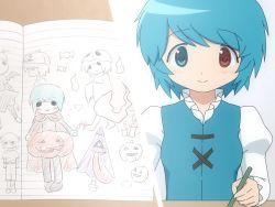 aoki_ume_(style) blue_eyes blue_hair blush halloween hetero red_eyes shirosato short_hair sketching tatara_kogasa touhou