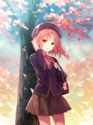 1girl adjusting_hair bag blush braid brown_eyes cherry_blossoms fukahire_sanba hat highres hong_meiling looking_at_viewer neck_ribbon pleated_skirt ribbon school_bag school_uniform short_hair skirt solo touhou under_tree