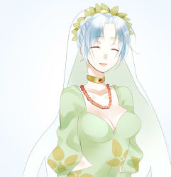 1girl blue_hair braid breasts choker cleavage dress eyes_closed grune_(tales) necklace open_mouth short_hair tales_of_(series) tales_of_legendia veil