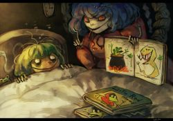 2girls bed book frog green_hair kochiya_sanae koto_inari multiple_girls short_hair snake touhou yasaka_kanako