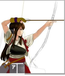 1girl akagi_(kantai_collection) arrow bow_(weapon) brown_eyes brown_hair commentary_request drawing_bow gloves holding holding_weapon japanese_clothes kantai_collection long_hair matching_hair/eyes muneate partly_fingerless_gloves red_skirt rigging sidelocks single_glove sketch skirt sleeves_rolled_up solo tasuki watanore weapon white_background yugake yumi_(bow)