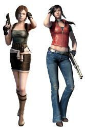 2girls 3d brown_hair claire_redfield jeans jill_valentine multiple_girls resident_evil simple_background skirt tube_top vest
