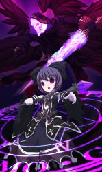 fantasy magic original shiratama_dango skull staff belt black_wings bow cloak death_(entity) detached_sleeves dress glyph hood open_mouth purple_eyes purple_hair short_hair sword weapon wings