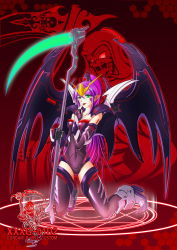 1girl armor bat_wings beam_scythe covered_navel death_(entity) finger_licking green_eyes gundam gundam_deathscythe_hell_custom gundam_wing gundam_wing_endless_waltz highres licking magic_circle mecha_musume mechanical_wings pointy_ears purple_hair scythe skin_tight thighhighs tongue tongue_out wings yin_gren