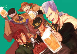 beer_mug black_hair blue_eyes chains cherry chewing_gum cigarette dog dutch_angle earrings eyes_closed foam food fruit gakuran green_eyes grey_hair hat headband iggy_(jojo) jean_pierre_polnareff jewelry jojo_no_kimyou_na_bouken joseph_joestar kakyouin_noriaki kuujou_joutarou mohammed_avdol mugitarou necklace red_hair robe school_uniform smile tray